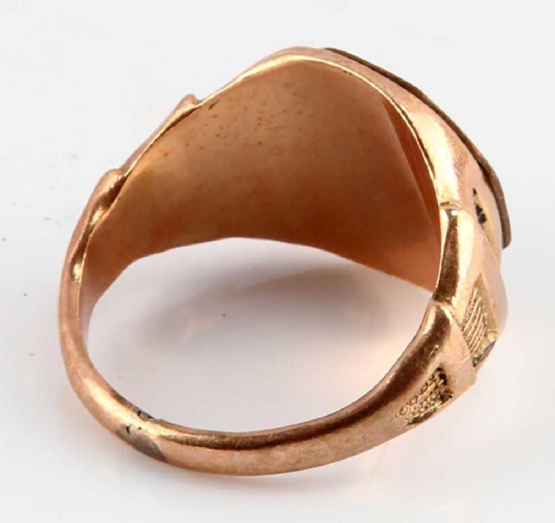 GOLD SIGNET RING, USA AEF DOUGHBOY ENAMELLED - 4
