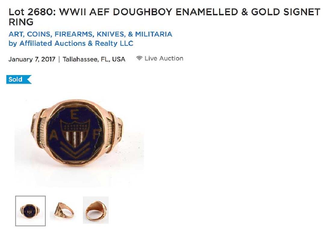 GOLD SIGNET RING, USA AEF DOUGHBOY ENAMELLED - 5