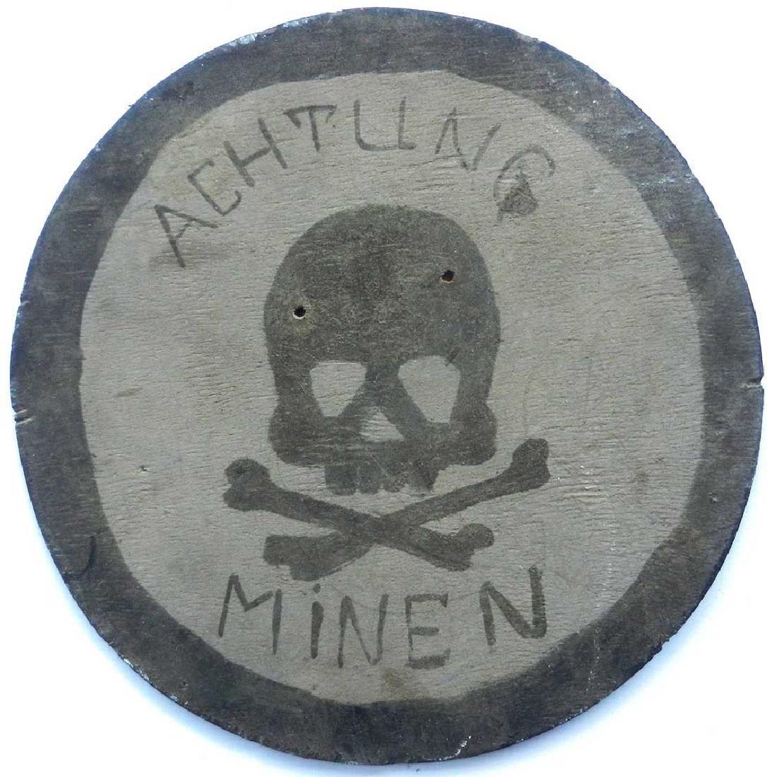 German WW2 KRIEGSMARINE Sign ACHTUNG MINEN