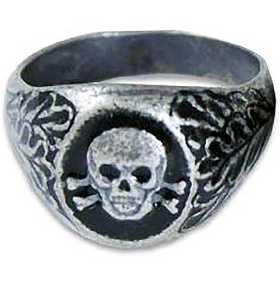 German WW2 Waffen SS Silver Ring W Skull