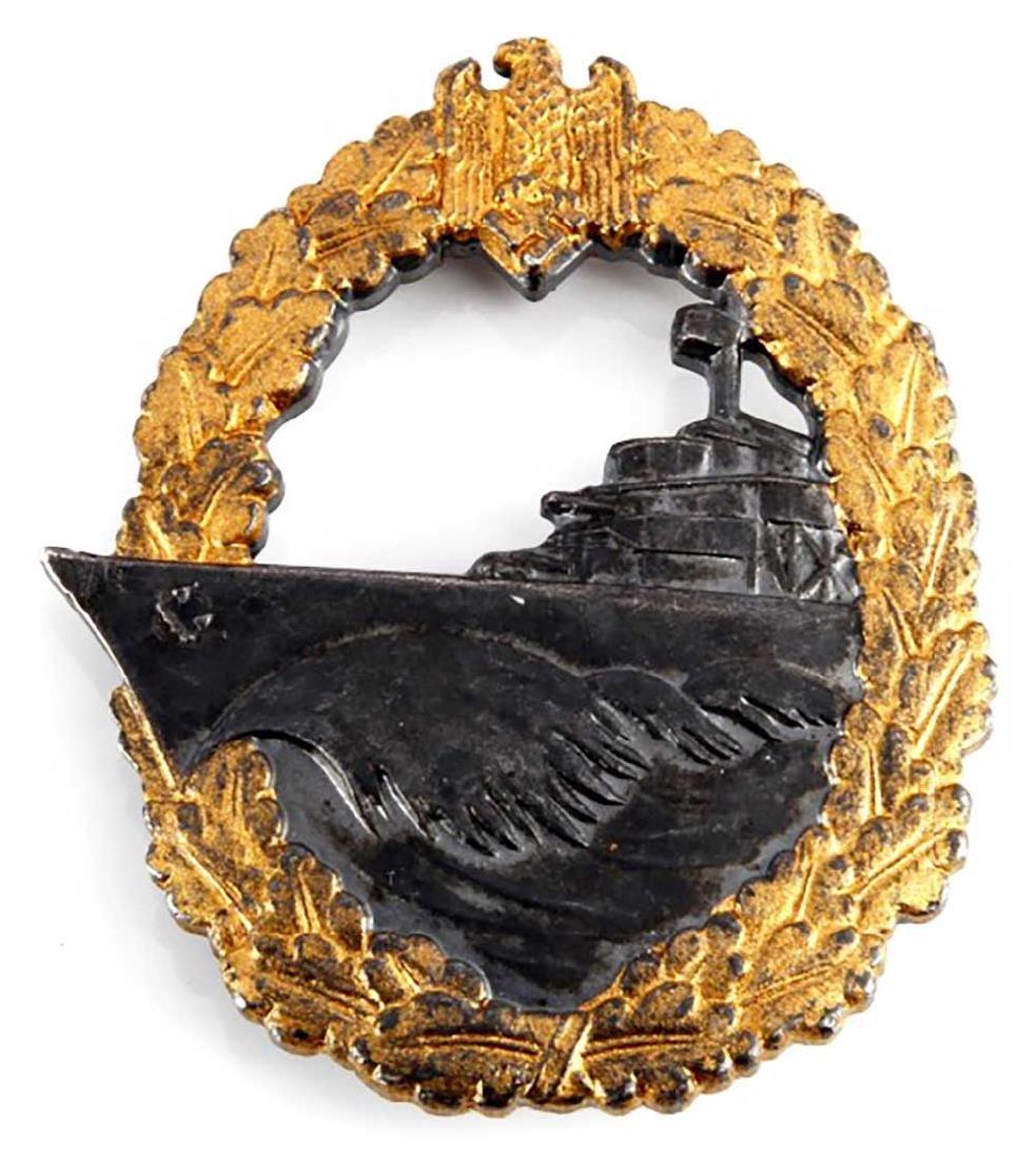 German WWII Kriegsmarine Destroyer War Badge, fo