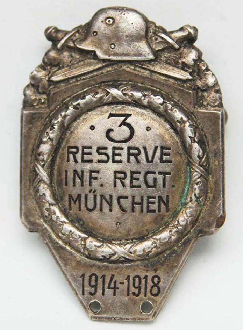 German WW1 Badge 3d Infantry Regiment + document