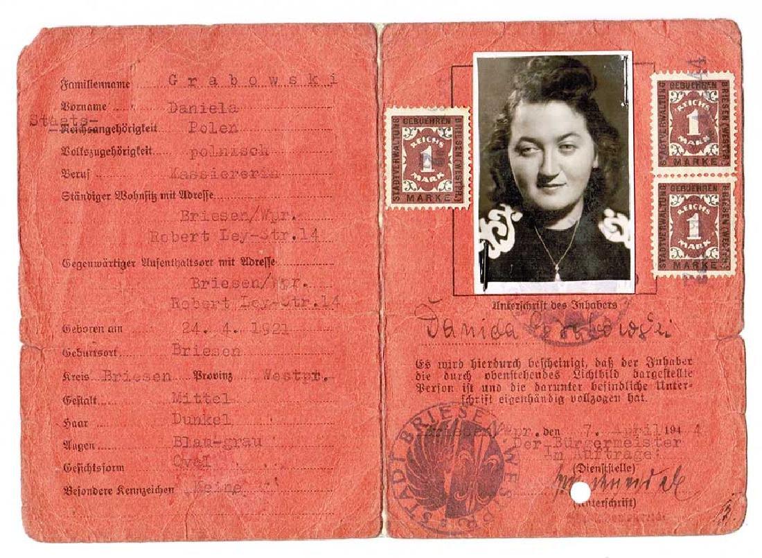 German WW2 ID Document Ausweise, 1944