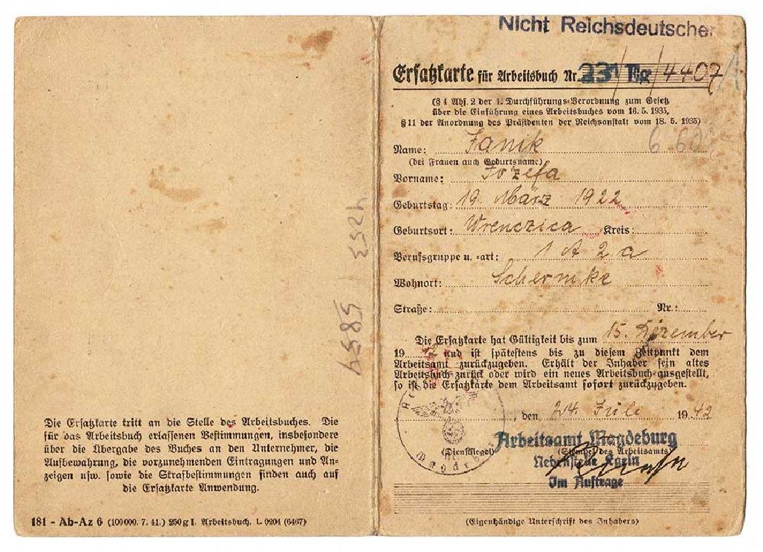 German WW2 Document Card for Auslander, Ersazkarte,