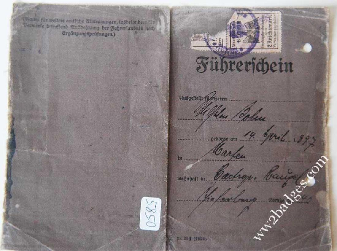 German WW2 DRIVERS BADGE + Driver Licence, 1943 - 4
