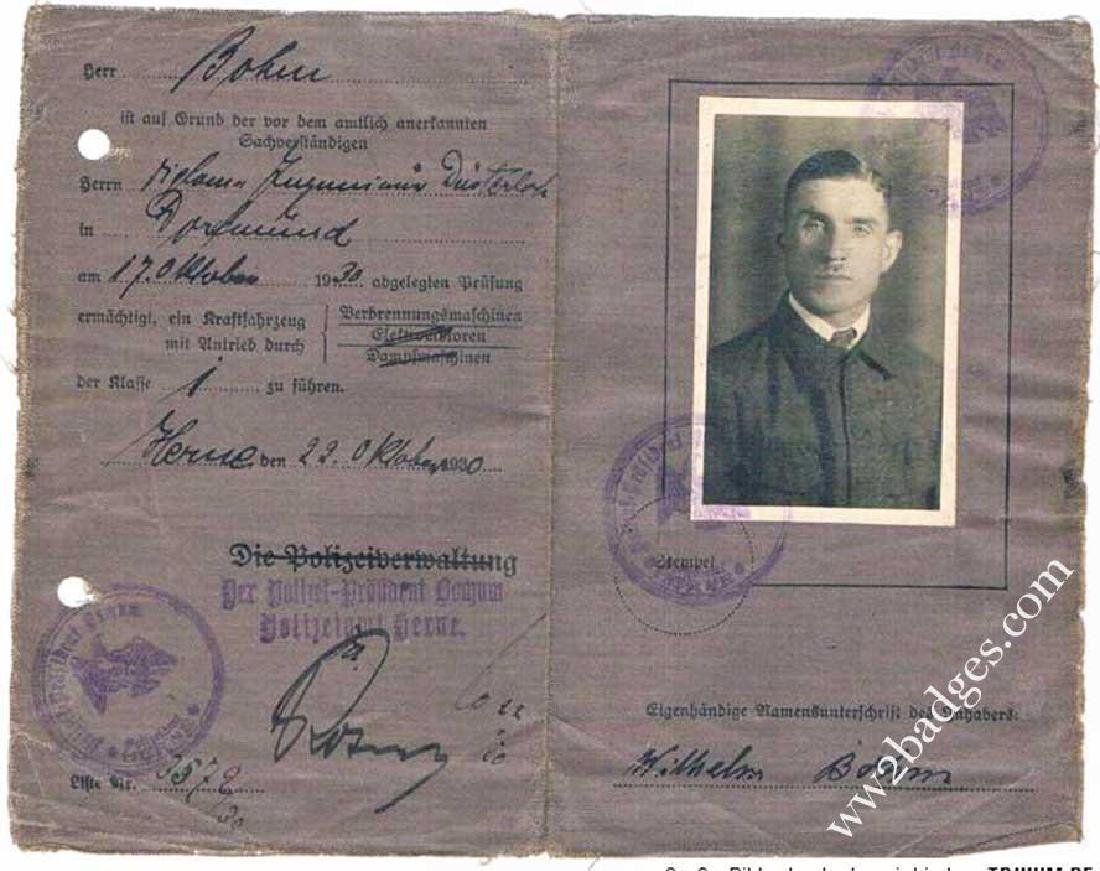 German WW2 DRIVERS BADGE + Driver Licence, 1943 - 5