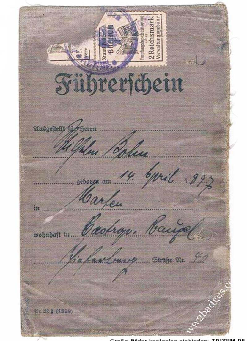German WW2 DRIVERS BADGE + Driver Licence, 1943 - 6