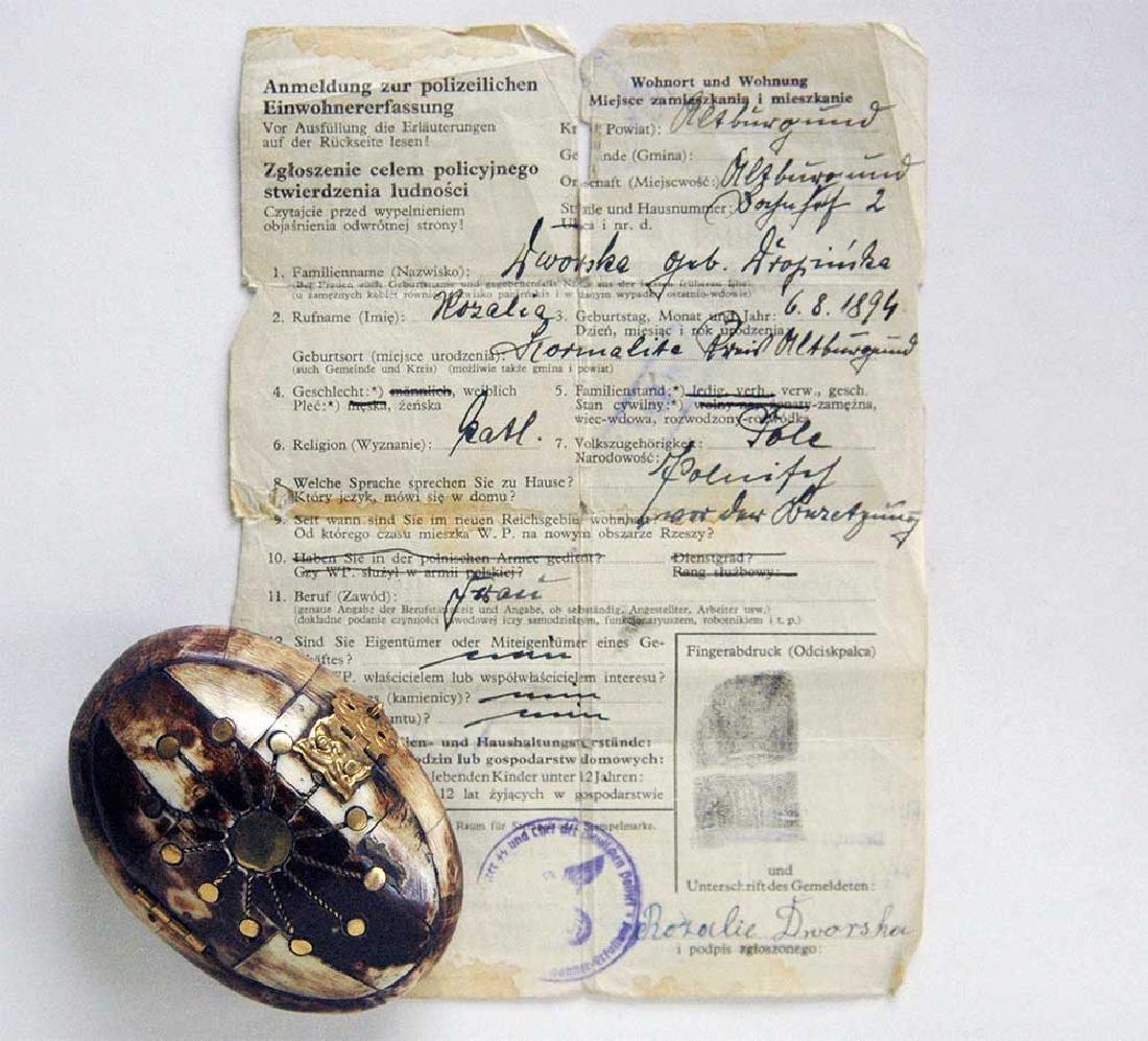 WW2 Jewelry Box fr. Litzmannstadt + Owner's Document