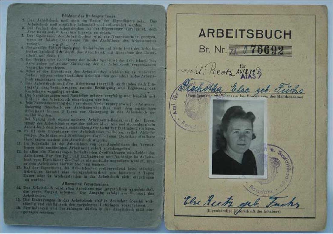Original German Worker Booklets, Arbeitsbuch