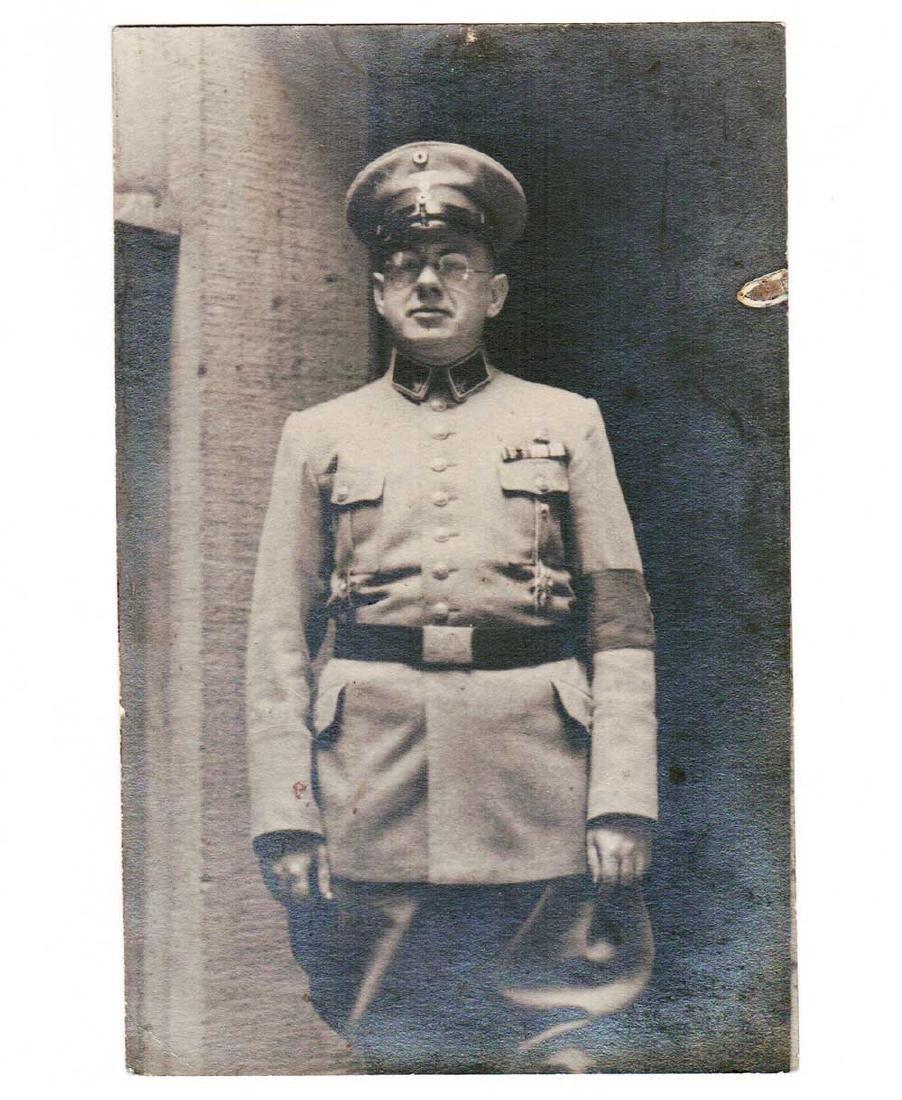 German WW1 WW2 Postcard of Officer w. Armband