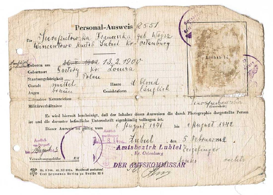 German WW2 Ausweis ID for Polish worker, 1942 - 2