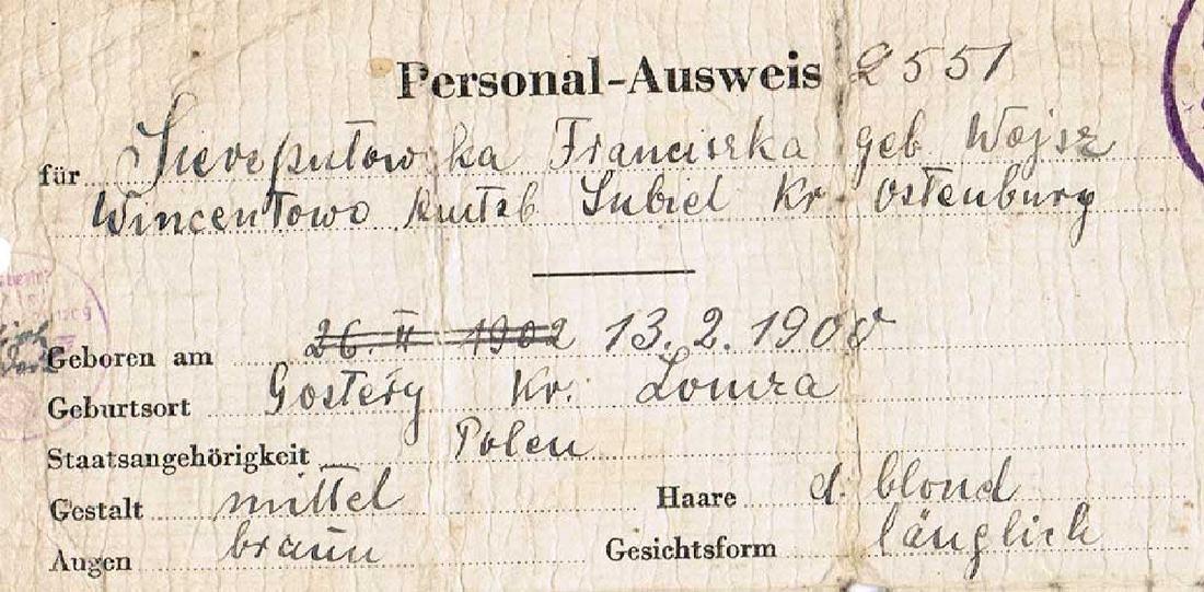 German WW2 Ausweis ID for Polish worker, 1942 - 3