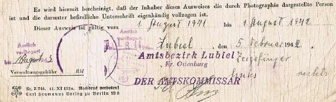German WW2 Ausweis ID for Polish worker, 1942 - 4