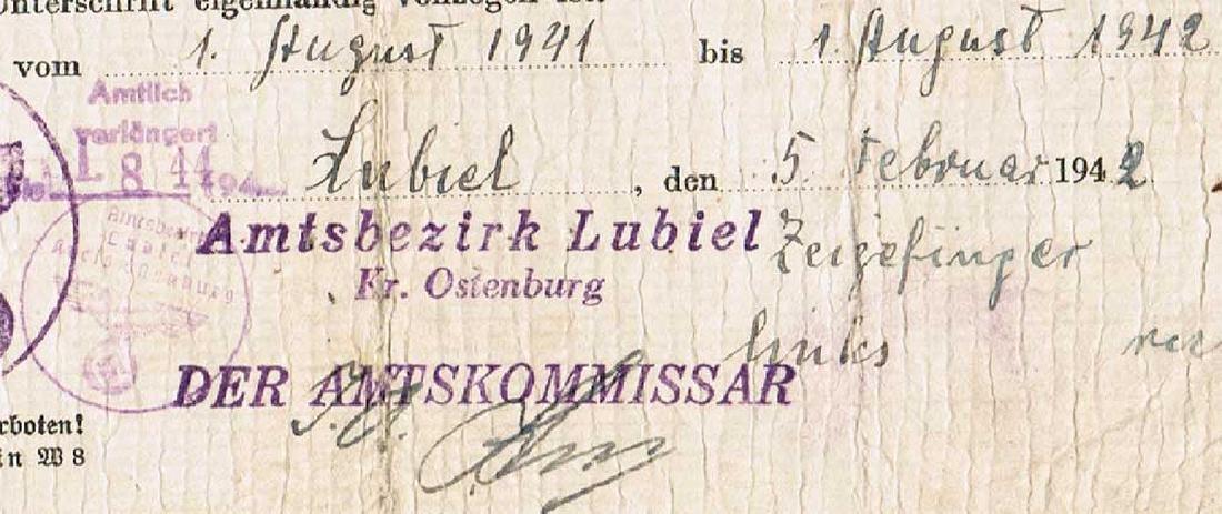 German WW2 Ausweis ID for Polish worker, 1942 - 5