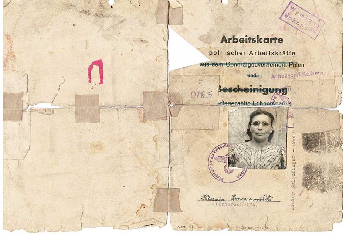 German WW2 Arbeitskarte for Polish w. Fingers Stamp