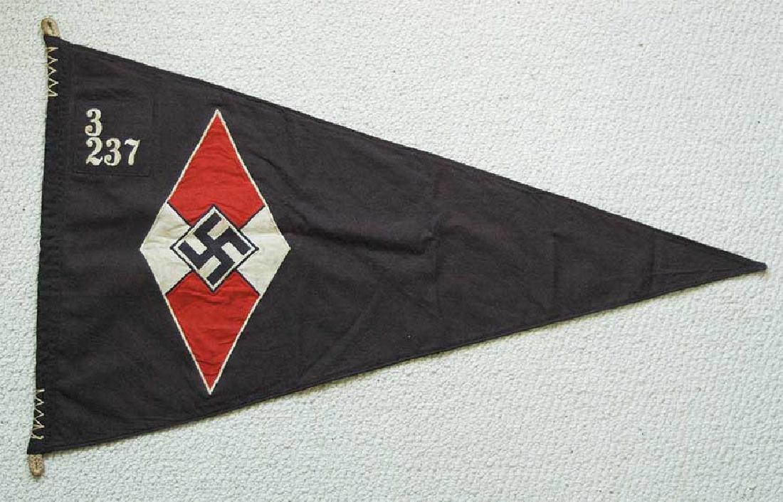 LARGE BATTLE German WW2 Hitler Jugend Pennant