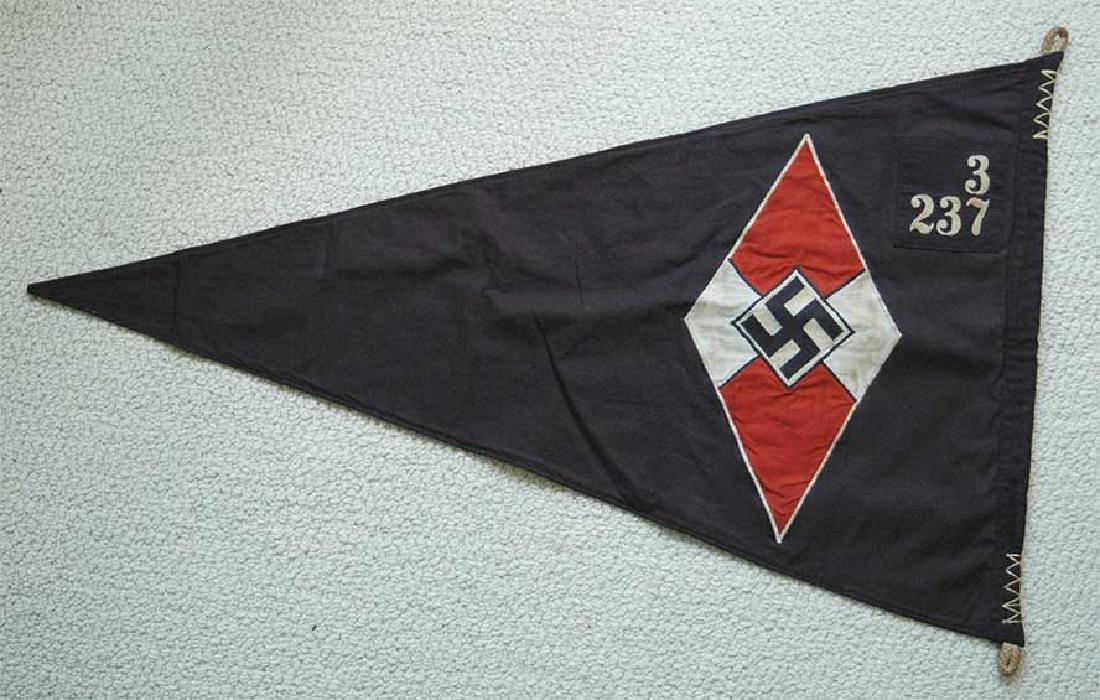 LARGE BATTLE German WW2 Hitler Jugend Pennant - 2