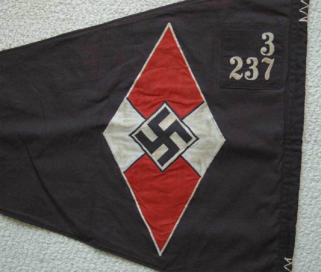LARGE BATTLE German WW2 Hitler Jugend Pennant - 3