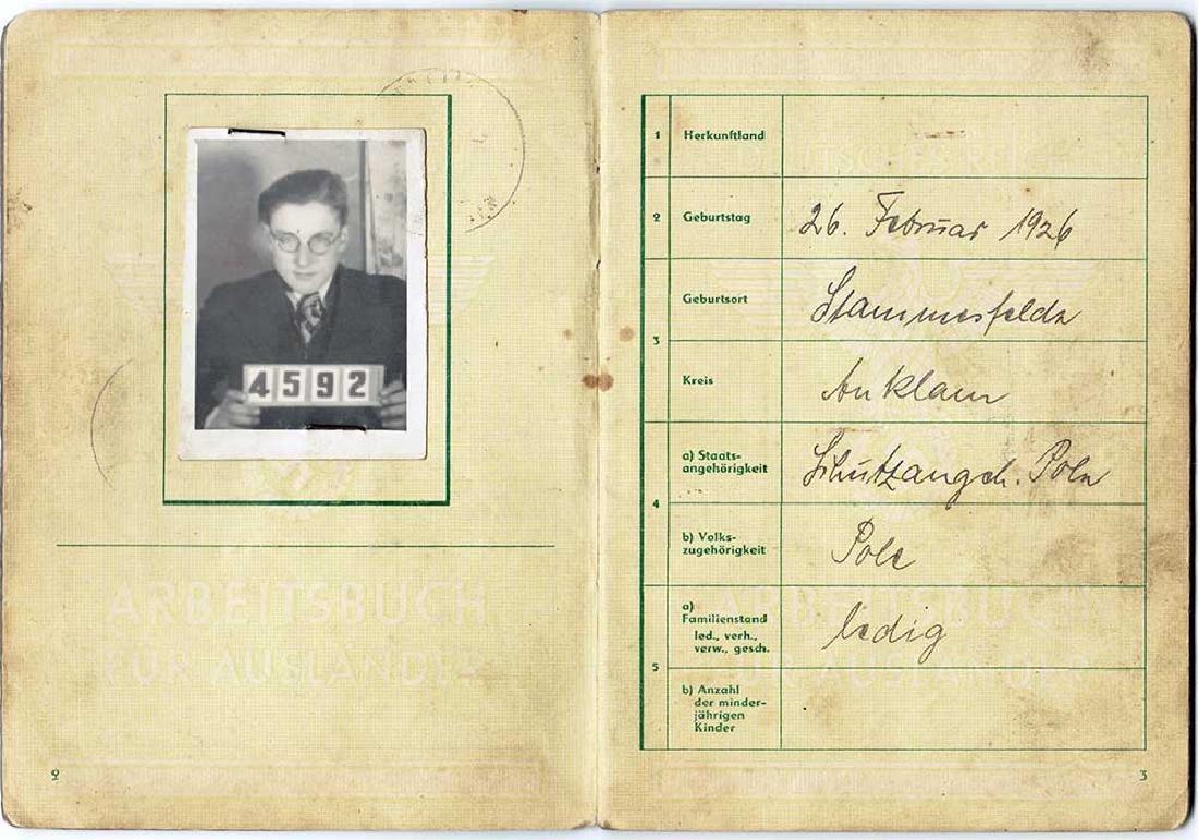 German WW2 Arbeitsbuch for Polish Worker