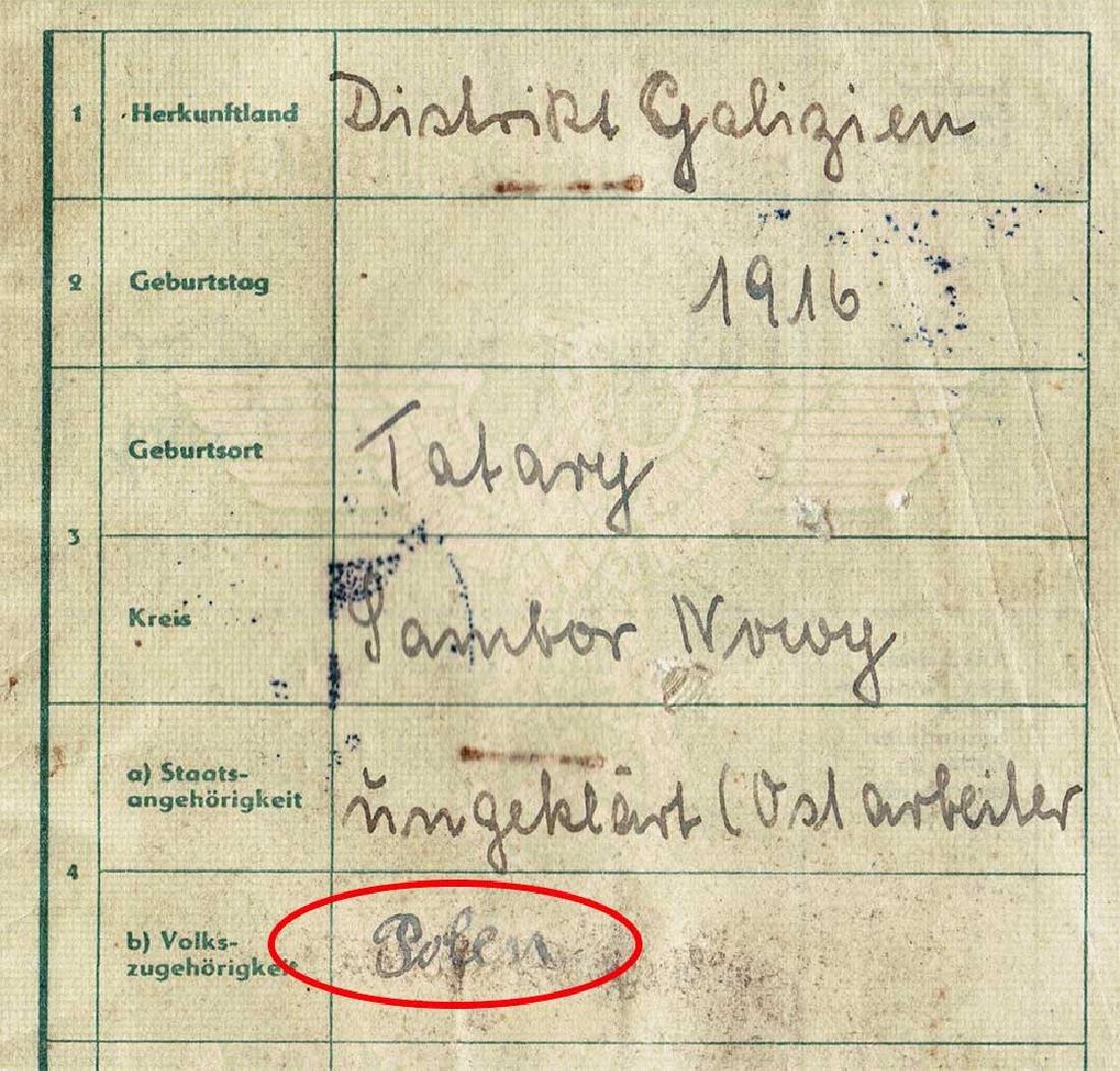 German WW2 Polish Arbeitsbuch w. Strange Notice - 4