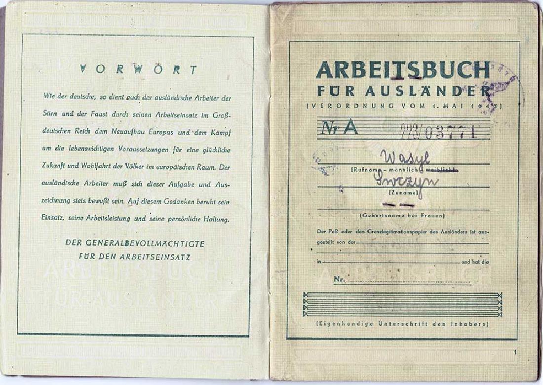 German WW2 Polish Arbeitsbuch w. Strange Notice - 5
