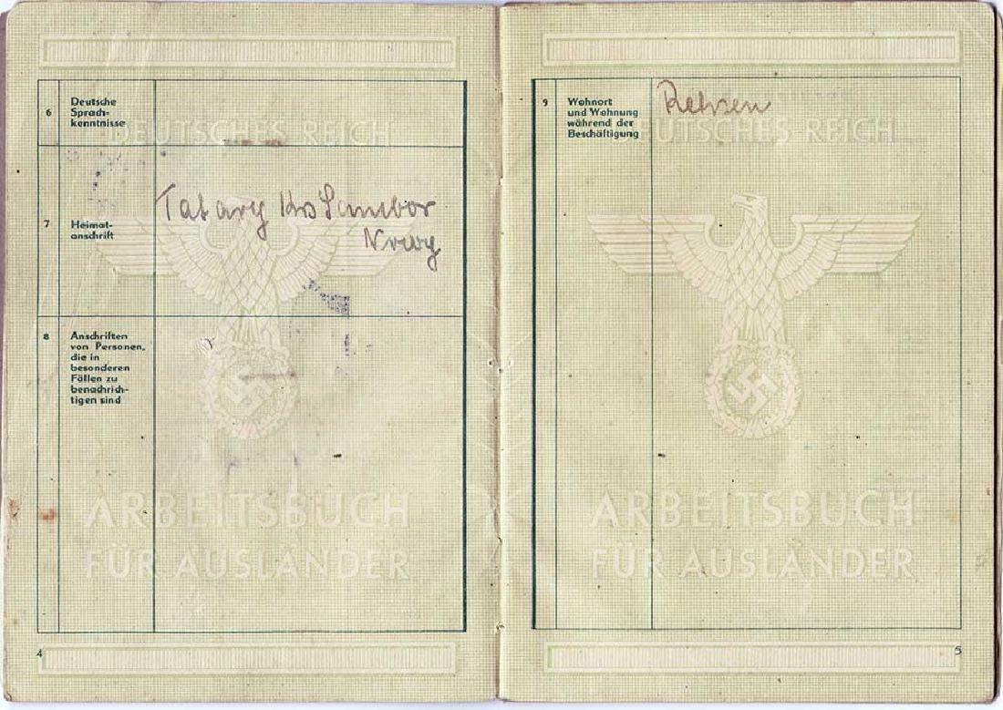 German WW2 Polish Arbeitsbuch w. Strange Notice - 7