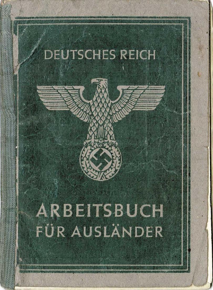 German WW2 Polish Arbeitsbuch w. Strange Notice - 9