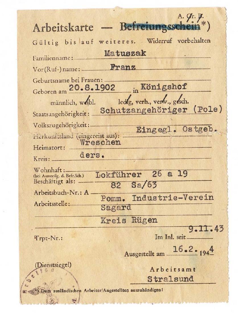 German WW2 Arbeitskarte for Polish Worker, 1943
