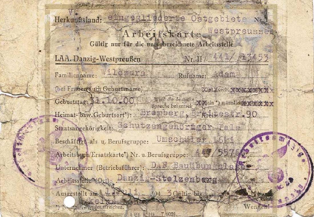 German WW2 Arbeitskarte for Polish Worker, 1943 - 4