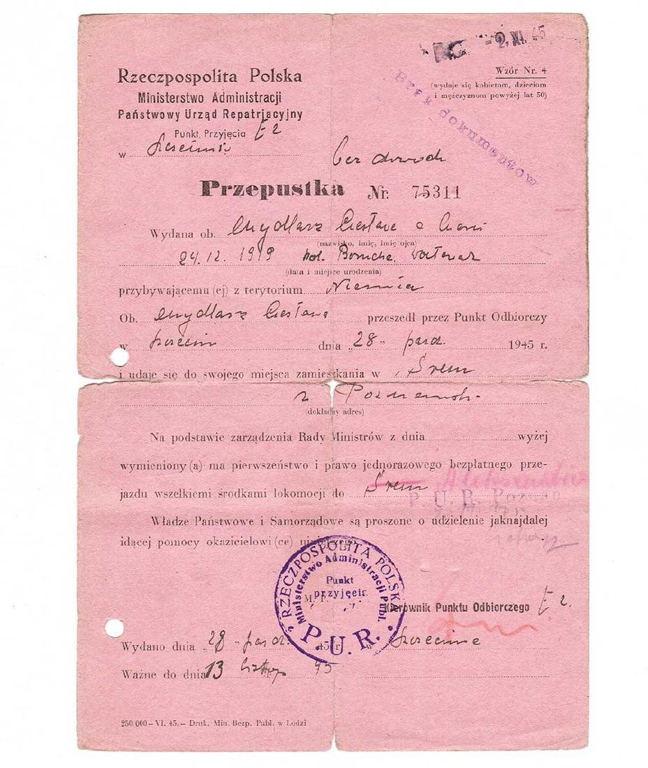 Polish Document for ex Prisoners, Concentration Camp,