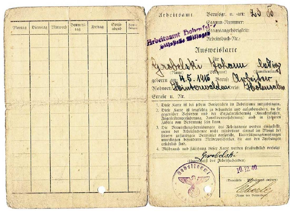 German WW2 Personal ID Ausweiskarte, 1940