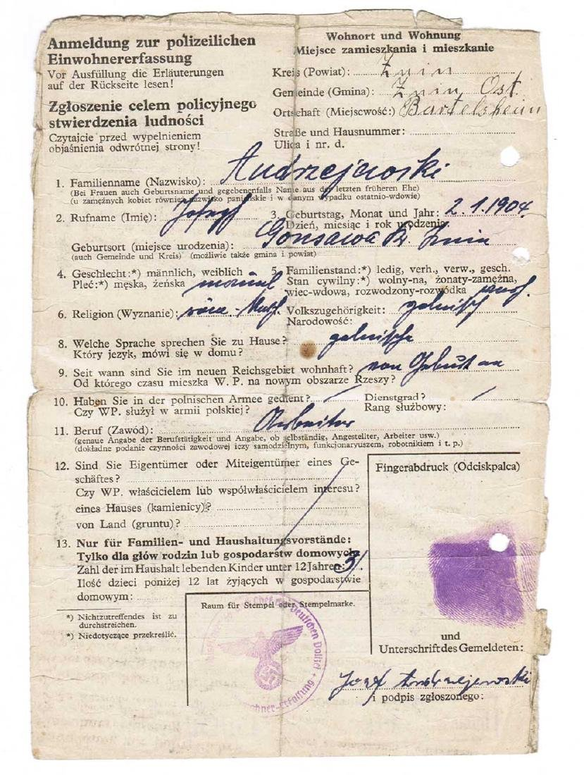 German WW2 Police Criminal Record w. Fingers Stamp,