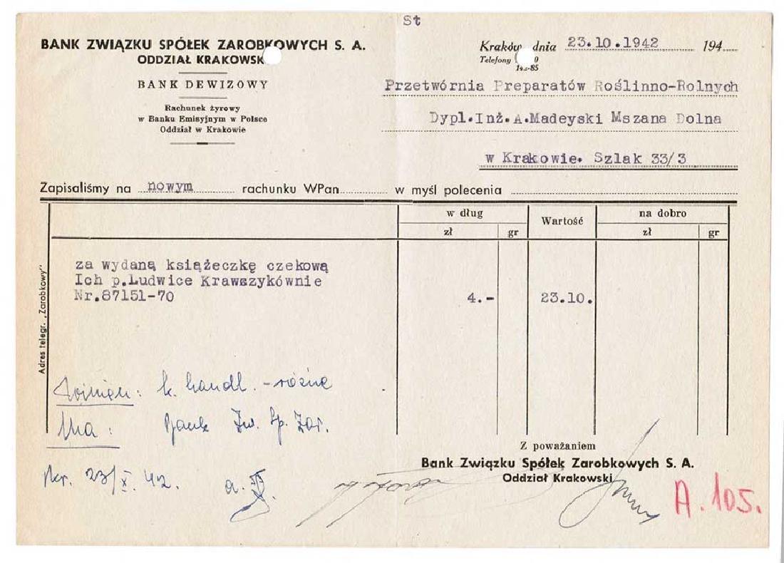 German WW2 Bank Document, ID, Krakow in Poland 1942