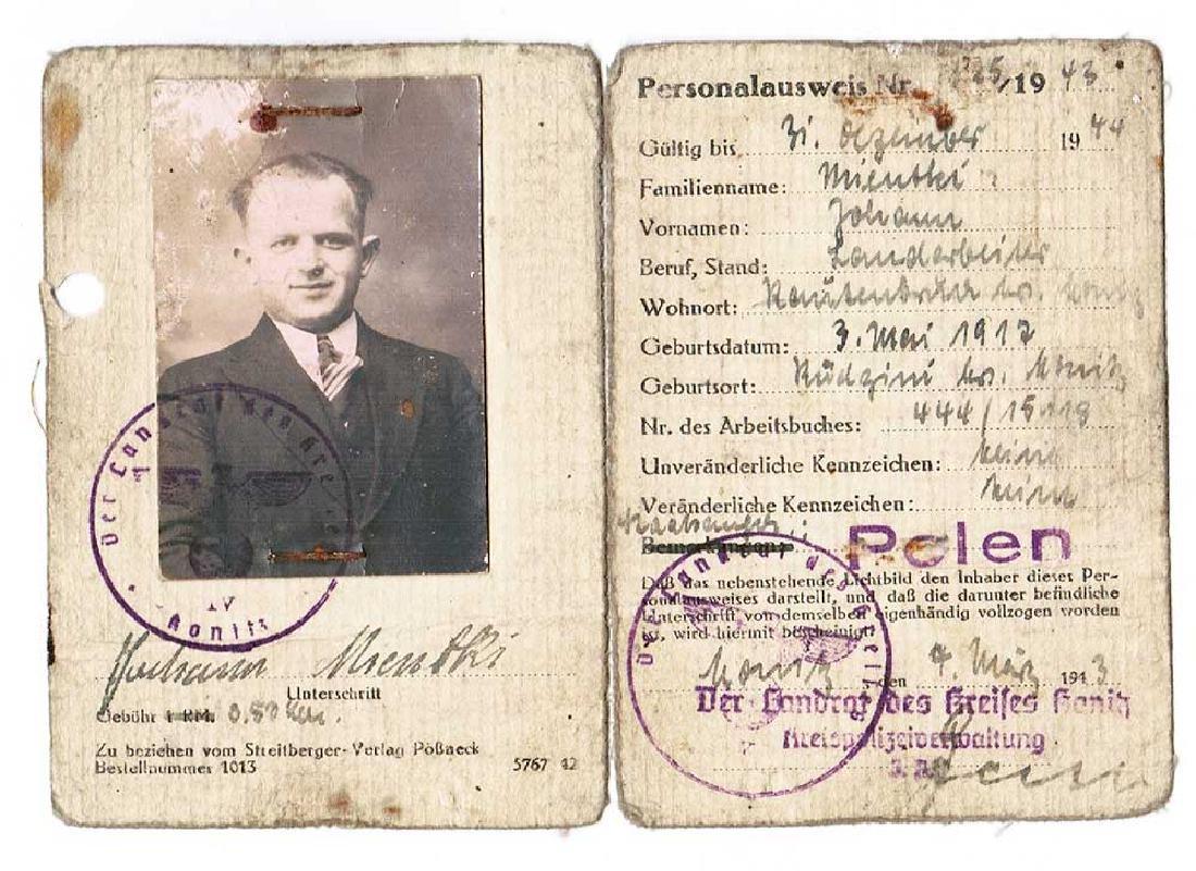 German WW2 Ausweis ID f. Polish Worker, 1943
