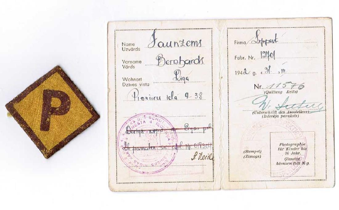 German WW2 Patch for Polish Worker + ID, 1943