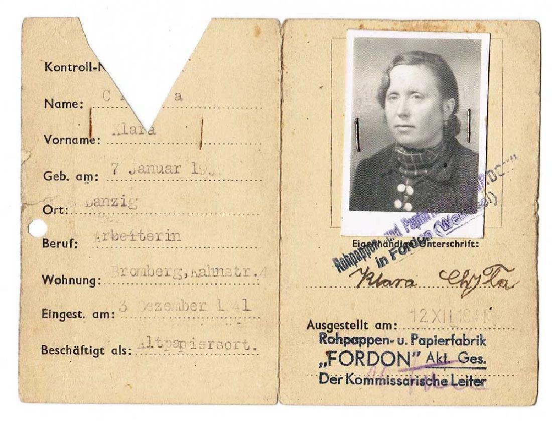 German WW2 Werk Ausweis ID, Polish Worker, 1941