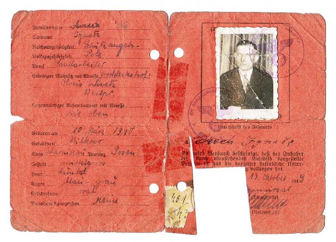 German WW2 Personal Ausweis ID Document, 1943