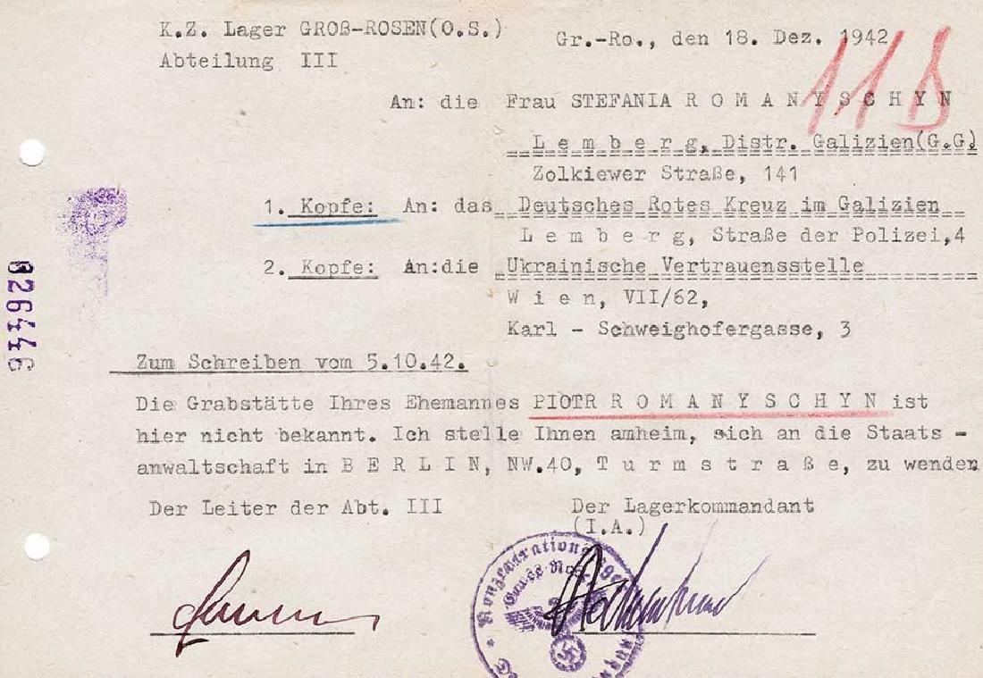 Extremely Rare German WW2 Rotes Kreuz Document fr. KL - 2