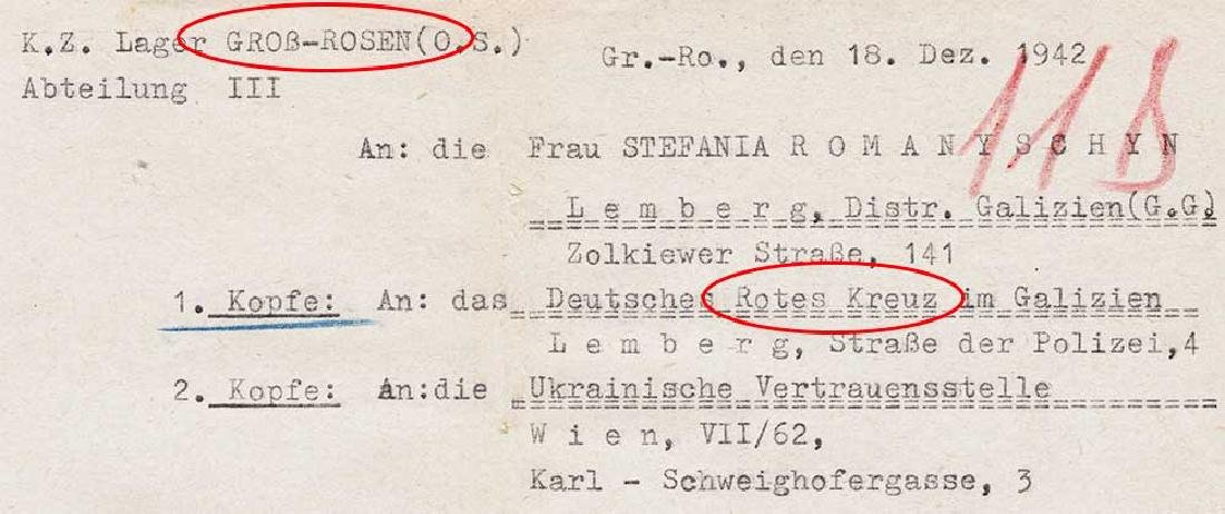 Extremely Rare German WW2 Rotes Kreuz Document fr. KL - 3