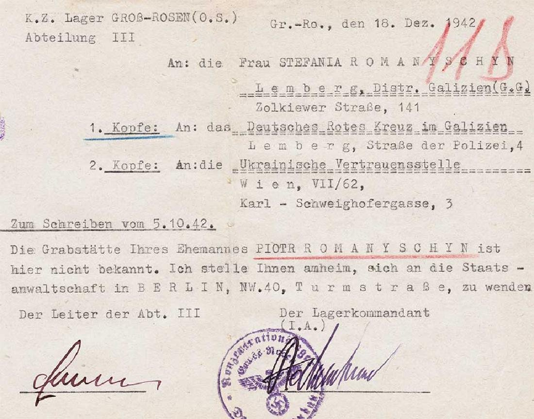 Extremely Rare German WW2 Rotes Kreuz Document fr. KL - 5