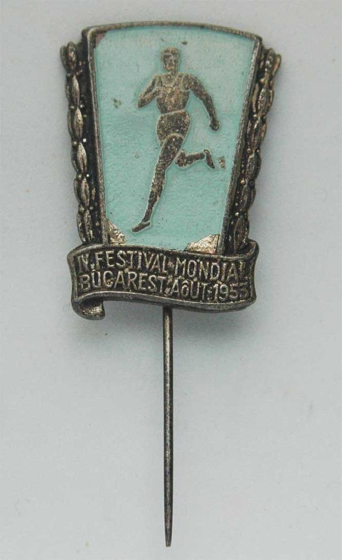 Rare Romanian SILVER badge, IV Festival, 1953