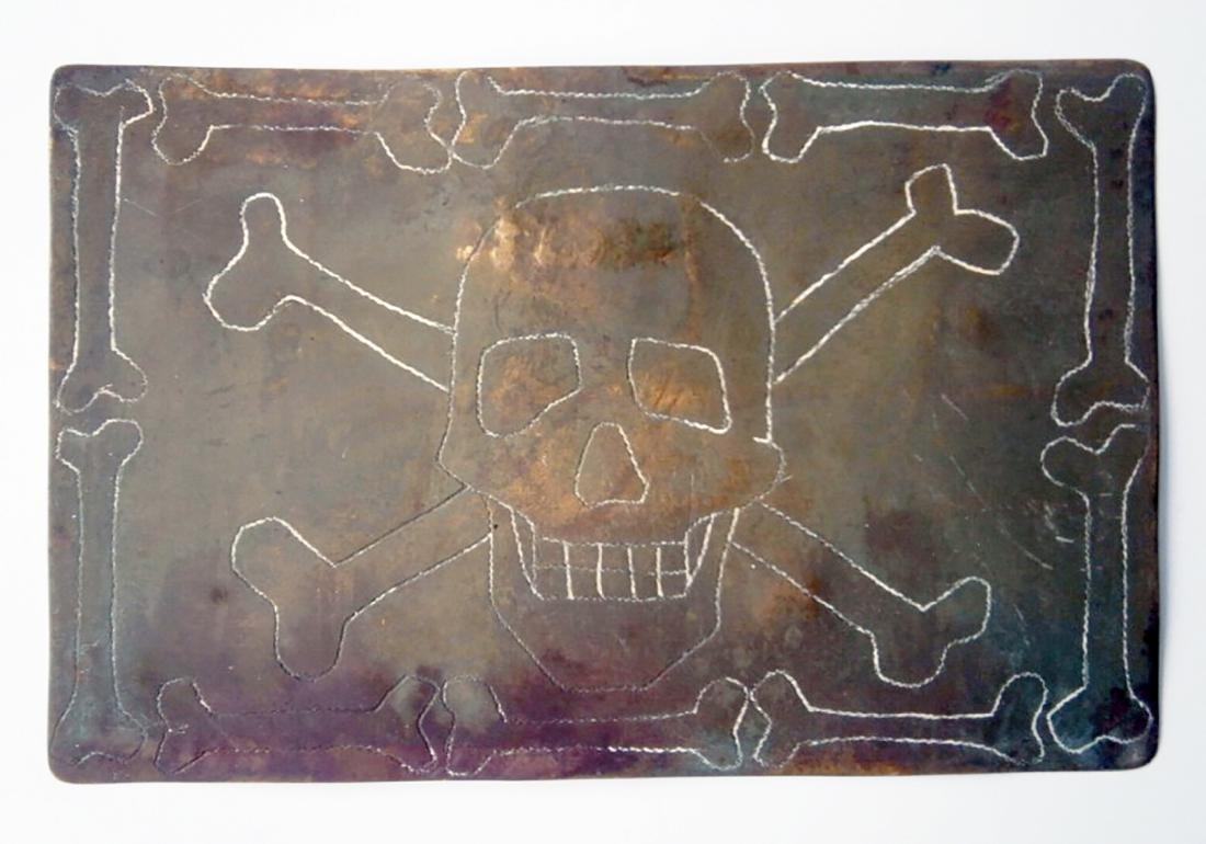 Original German WW2 Postcard w. SKULL & BONES