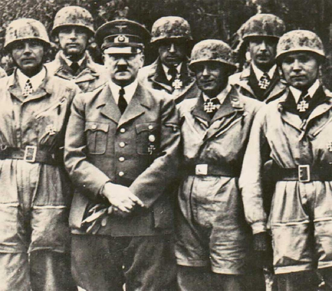 German WWII Photo of Adolf Hitler w. Paratroopers,