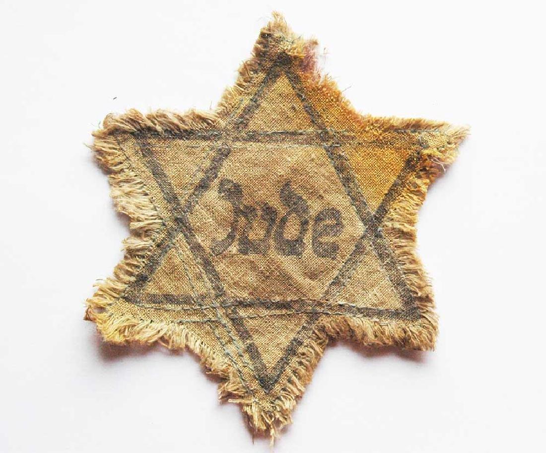Jewish WW2 Yellow David Star JUDE, Litzmannstadt