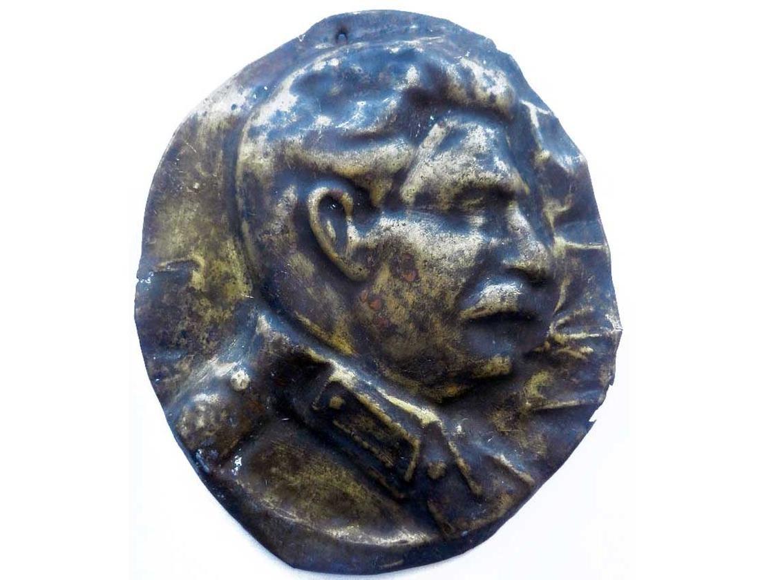 Joseph Stalin BRONZE Plate, Soviet PROPAGANDA