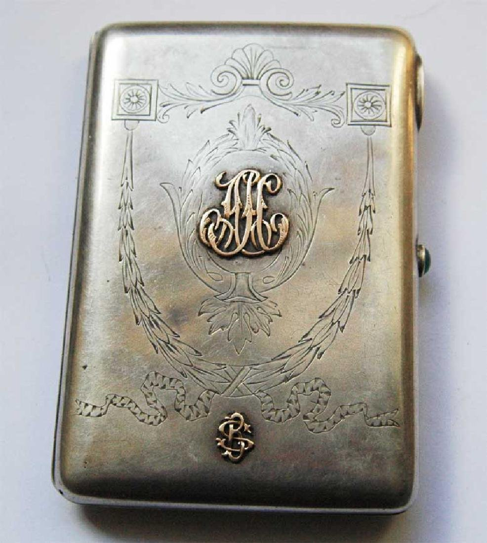 Russian Imperial Silver Cigarette Case, 2 Gold