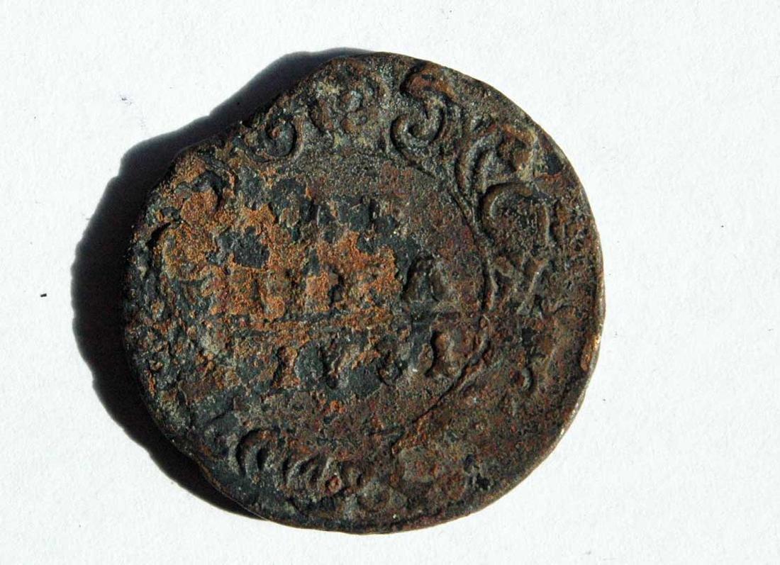 Very Rare Russian Imperial Coin Denga, 1711