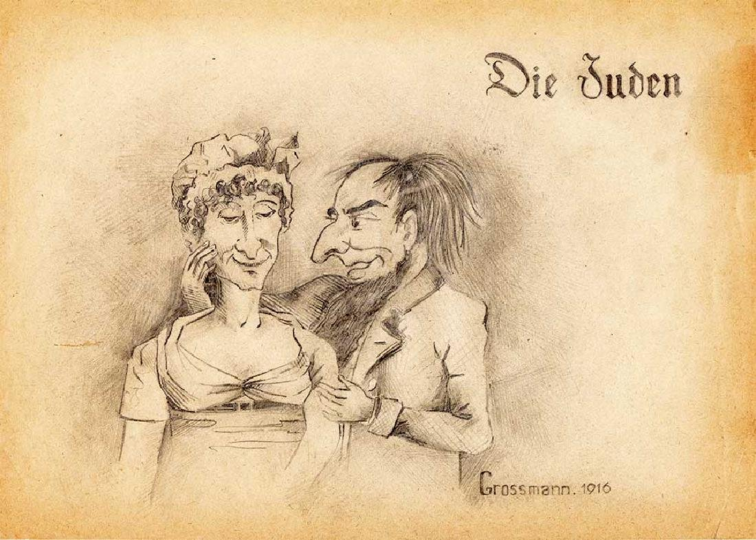 Jewish Picture Pencil Drawing - Die Juden, Grossmann