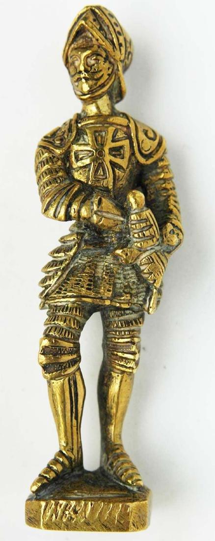 German Bronze Figure of Cavalier Soldier, XV century