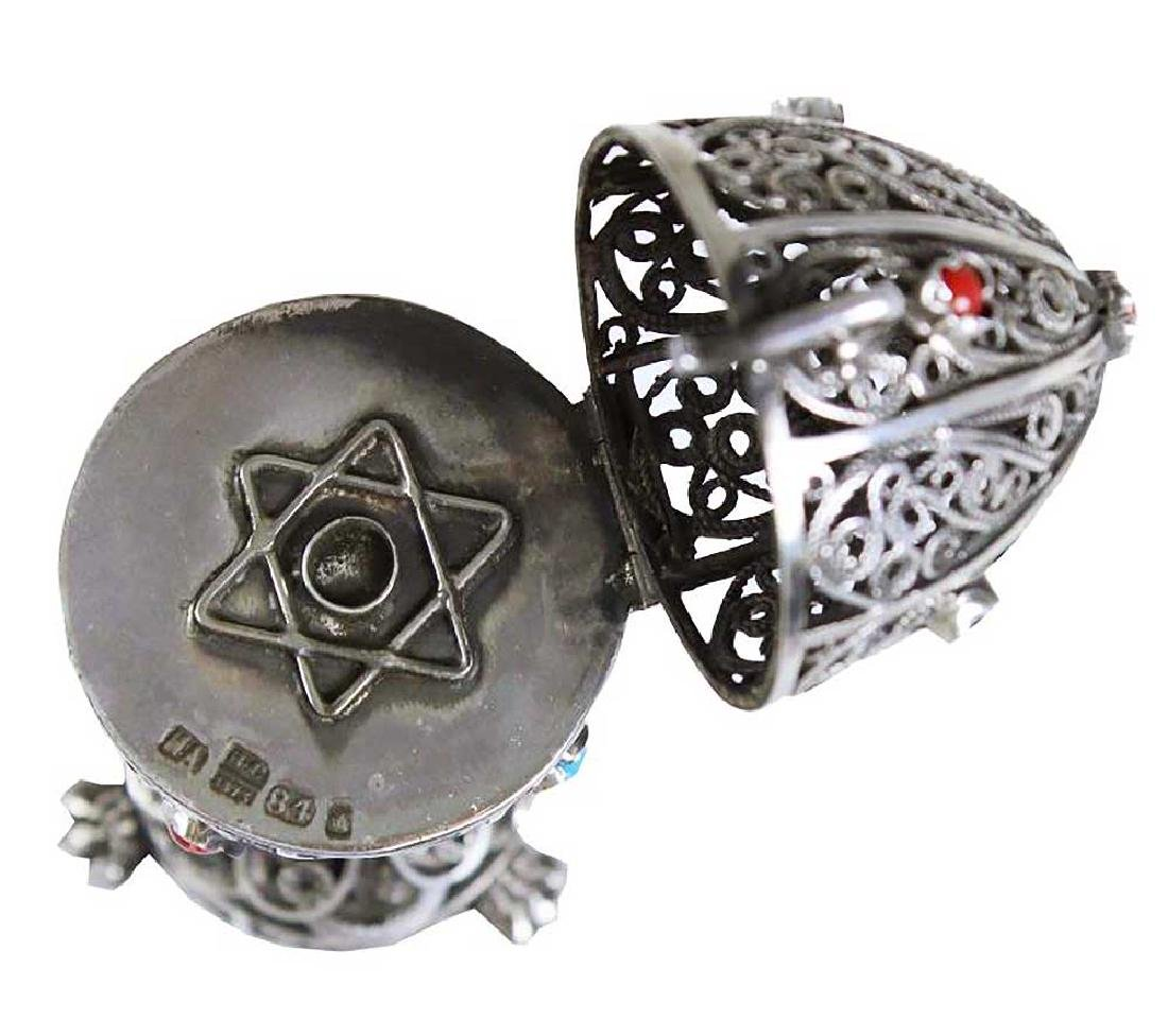 RUSSIAN JUDAICA SILVER FABERGE EGG, Star of David